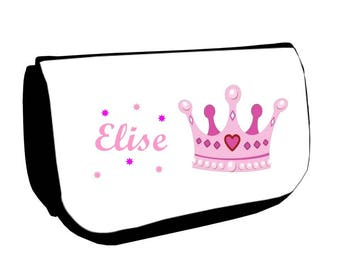 Black cosmetic case /crayons Crown personalized with name