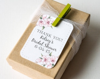 Cherry Blossom Bridal Shower Tags, Customized tags, Spring Flowers, Thank You Favor Tags