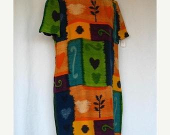On Sale 1980's Maggy London Shift Dress Short Sleeves Gold Yellow Orange Blue Green Black Sz 12