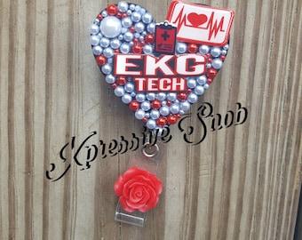 EKG Tech Badge Reel, Work Badge Holder,  ID Badge Holder