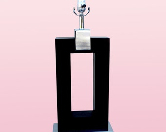 Black Table Lamp With Chrome Fittings