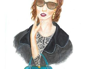 Watercolor Gucci Woman Fashion Illustration Print,  Fashion Wall Art, Teen Bedroom Art, Girls Room Decor