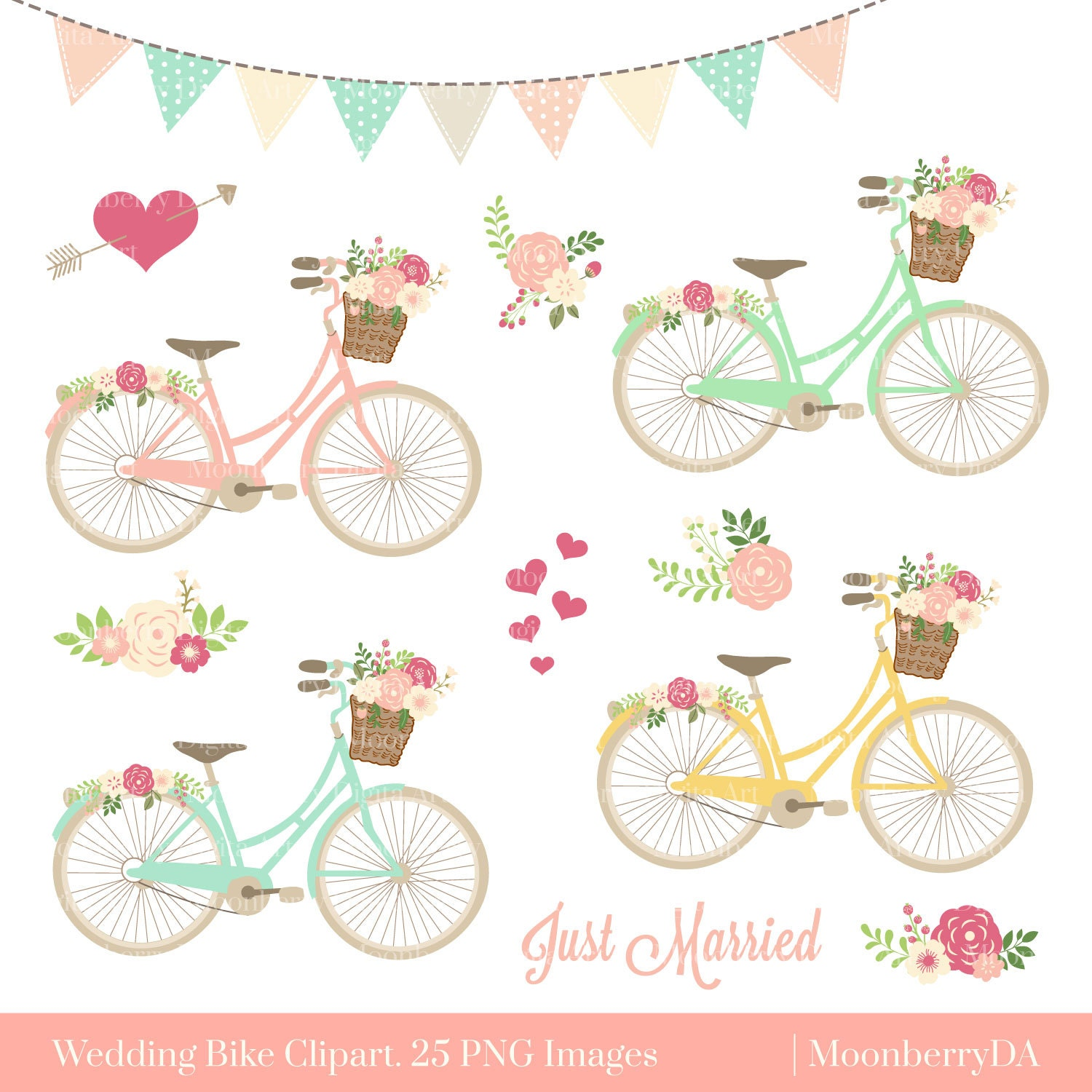 Bicycle Clipart BIKE CLIPART Floral Bicycle PNG