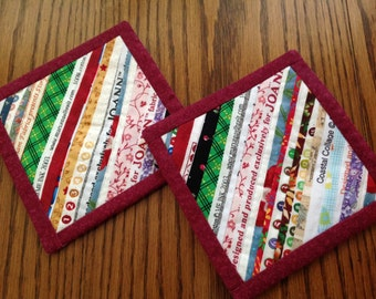 Two  One of a Kind Quilted Selvedge Edge Fabric Coasters, Candle Mats, Mug Mats, Mug Rugs of Fabric Strips