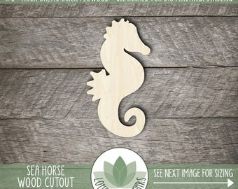 Wood Sea Horse Shape, Unfinished Wood Sea Horse Laser Cut Shape, DIY Craft Supply, Many Size Options, Blank Wood Shapes