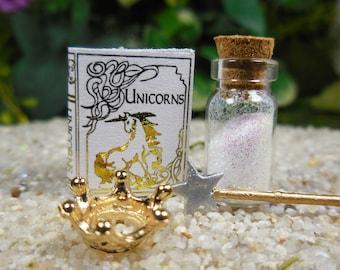 Mini Unicorn Magic Set for Fairies ~ Fairy Garden Kit w/ Tiny Unicorn Book, Magic Star Wand, Gold Crown, & Magic Potion, Fairy Supplies