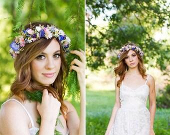 Realistic silk dried blue Floral crown Garden Flowers style boho halo Bridal Hair Wreath wedding accessories babys breath headband