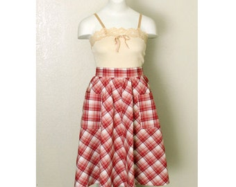 Vintage 50's Red Plaid Western Picnic Circle Skirt, size small / medium- pinup,pin up, cowgirl