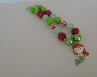 Red green Little Mermaid party little girl chunky bubble gum bead necklace
