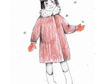 girl snowflakes child original illustration drawing figurative people art