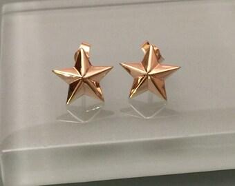 14k Star Stud Earrings, 14k Star Earrings, 14k Star Post Earrings, 14k Gold Star Earrings, 14k Solid Gold Earrings, 14k Stud Earrings