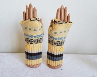 Sunny Yellow Lambswool  Fingerless  Gloves with Stripes and Vintage Buttons