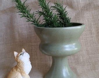 Mid Century Modern Vase Haegar Sage Green Pedestal Planter Olive Green Mid Century Stoneware Decorative Vase Planter