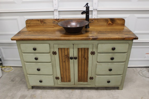 "Rustic Farmhouse Vanity - Copper Sink - 60""- Sage Green - Bathroom Vanity - Bathroom Vanity with Sink - Rustic Vanity - Farmhouse Vanity"