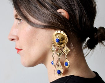 Frida / large earring wires by RÉMY DIS vintage 80s / gold and blue stone / inca ethnic Berber / shaped shield and diamond / Made in France