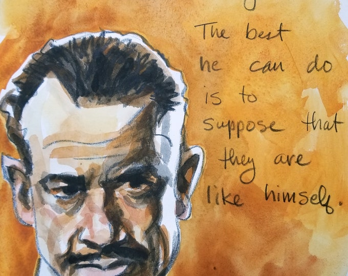 John Steinbeck, 11x14 inches,  watercolor on cotton paper by Kenney Mencher