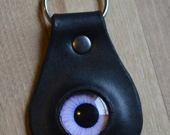 Handmade Purple Dragon Eye Leather Keychain