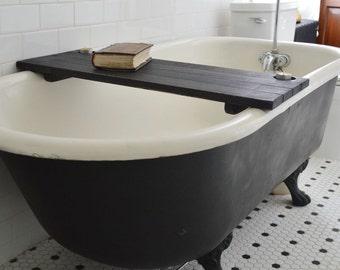 Bathtub Caddy Black Wood, Bathtub Tray, Bathroom Storage, Bathtub Shelf, Reclaimed, Gift for-girlfriend, Personalize, Mothers Day Gift