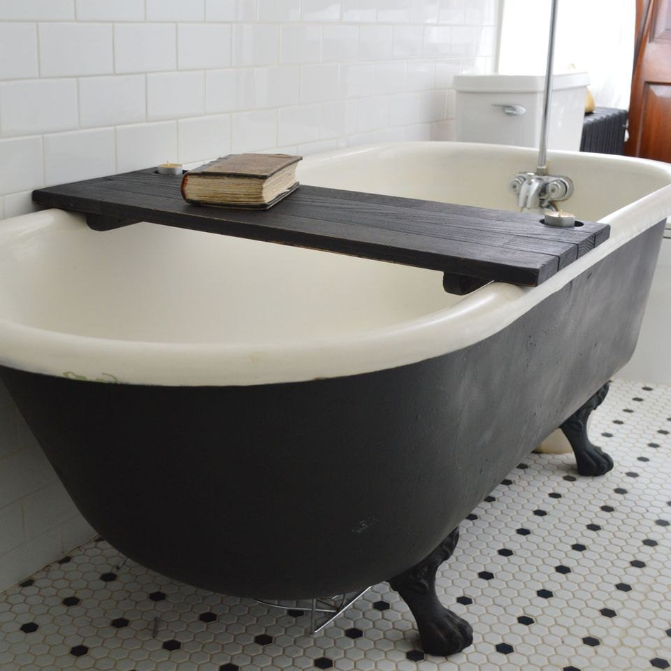 Bathtub Caddy Black Wood Bathtub Tray Bathroom Storage Bathtub