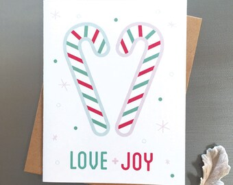 Love + Joy – Candy Cane Heart, Cute, Sweet, Whimsical Holiday Card