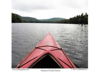 Maine Kayaking, Kayak on Watson Pond - 8 x 10 Art Print