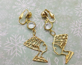 Egyptian Style Clip Retro Earrings Gold tone Bezel clips