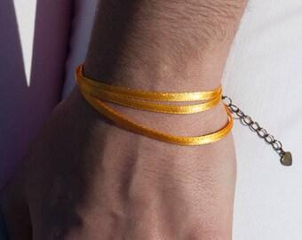 Yellow orange satin ribbon bracelet