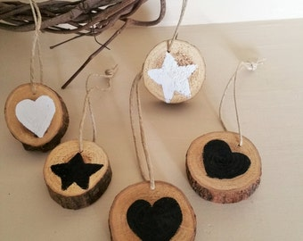 Tree Slice Handpainted White and Black Heart and Star Modern Christmas Ornaments