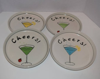 Set of 4 CHEERS snack appetizer plates 3 colors.