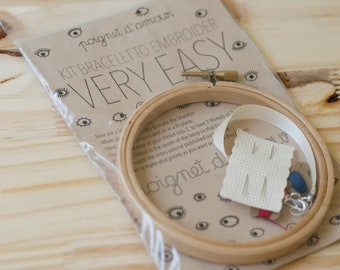 very easy bracelet to embroider kit - make a gift with love