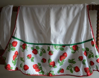 Vintage Handmade Strawberry Red Ric Rac Half Apron Retro Cotton Apron Red and Green Fruit Farmhouse Kitchen Cottage Mid Century