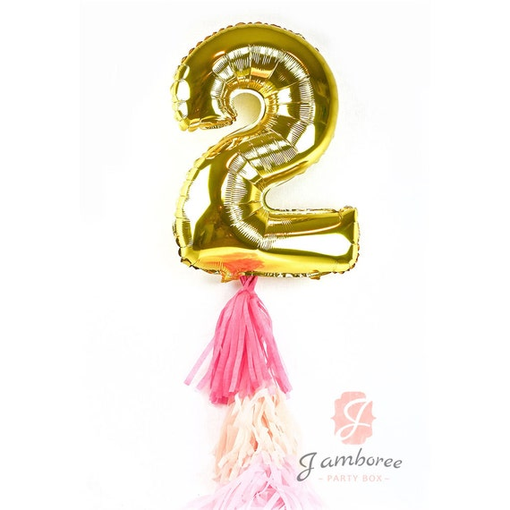 "40"" Giant Number 2 Balloon, Giant Balloon, Gold Balloon Gold Party Decor 2nd Birthday Party One Balloon 40 inch Balloon Gold Glitter Balloon"