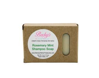 ORGANIC Grass Fed Tallow Soap -- Rosemary Mint -- Tallow Shampoo Bar -- Organic Shampoo -- Tallow Soap -- 4oz