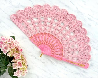Blush Pink Hand Held Fan- Lace Hand Fan- Lace Fan- Folding Hand Fan- Spanish Wedding Fan- Bridal Fan- Wedding Prop- Mother Of The Bride Gift