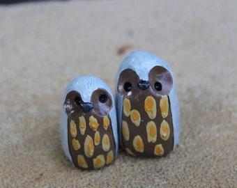 Clay Owl Totem Pair