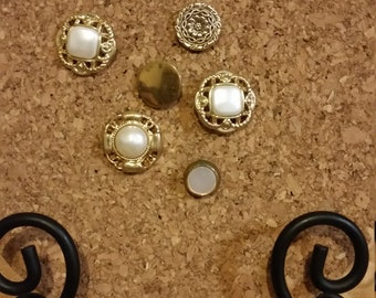 6 Decorative Gold and Pearl  Colored Vintage Button Push Pin Tacks