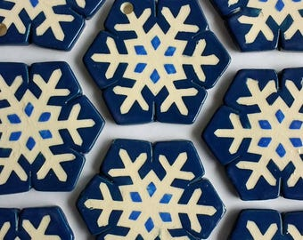 Snowflake Ceramic Holiday Ornament