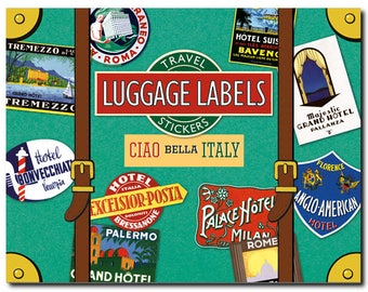 Travel Stickers - Italy - Venice - Rome - Florence - Naples - Pisa - all over the country - Luggage Labels - 20 in Color - Laughing Elephant