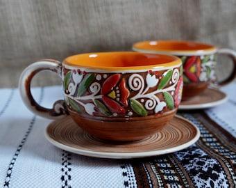 Christmas gift for mother Tea lover gift Mug handmade pottery mug handpainted Ceramic mug set of 2 mugs with saucer Rustic gift Orange mug