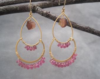 Tourmaline Earrings - Semi Precious Stones- Gold Hoops- Trapeze Earrings- Double Hoop - Gold Hoops - Raw Toumaline