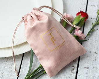 50 personalized logo print drawstring bags custom jewelry packaging bags pouches chic wedding favor bags pink flannel cosmetic bags