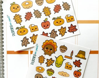 Kawaii Fall and Thanksgiving Mini Kit Planner Stickers!
