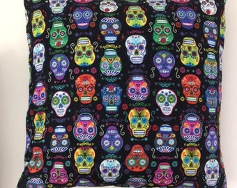 Dia de los Muertos/ Day of the Dead pillow cover with colorful skulls, cotton, 20x20