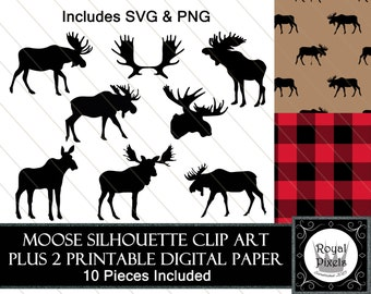Moose Silhouette Clip Art Set of 8 PLUS 2 Digital Paper Backgrounds - 7 inches - Instant Download - Printable - PNG & SVG #70