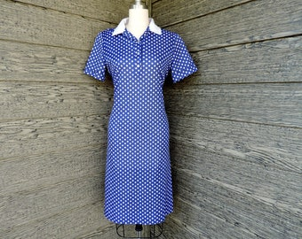 vintage polka dot polo dress 1970s blue and white dotted shirt dress large
