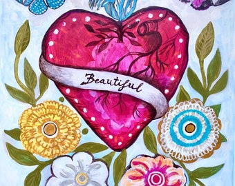 Beautiful Heart . Original mixed media folk art ,wall art, mexican, heart, floral, style, decor.