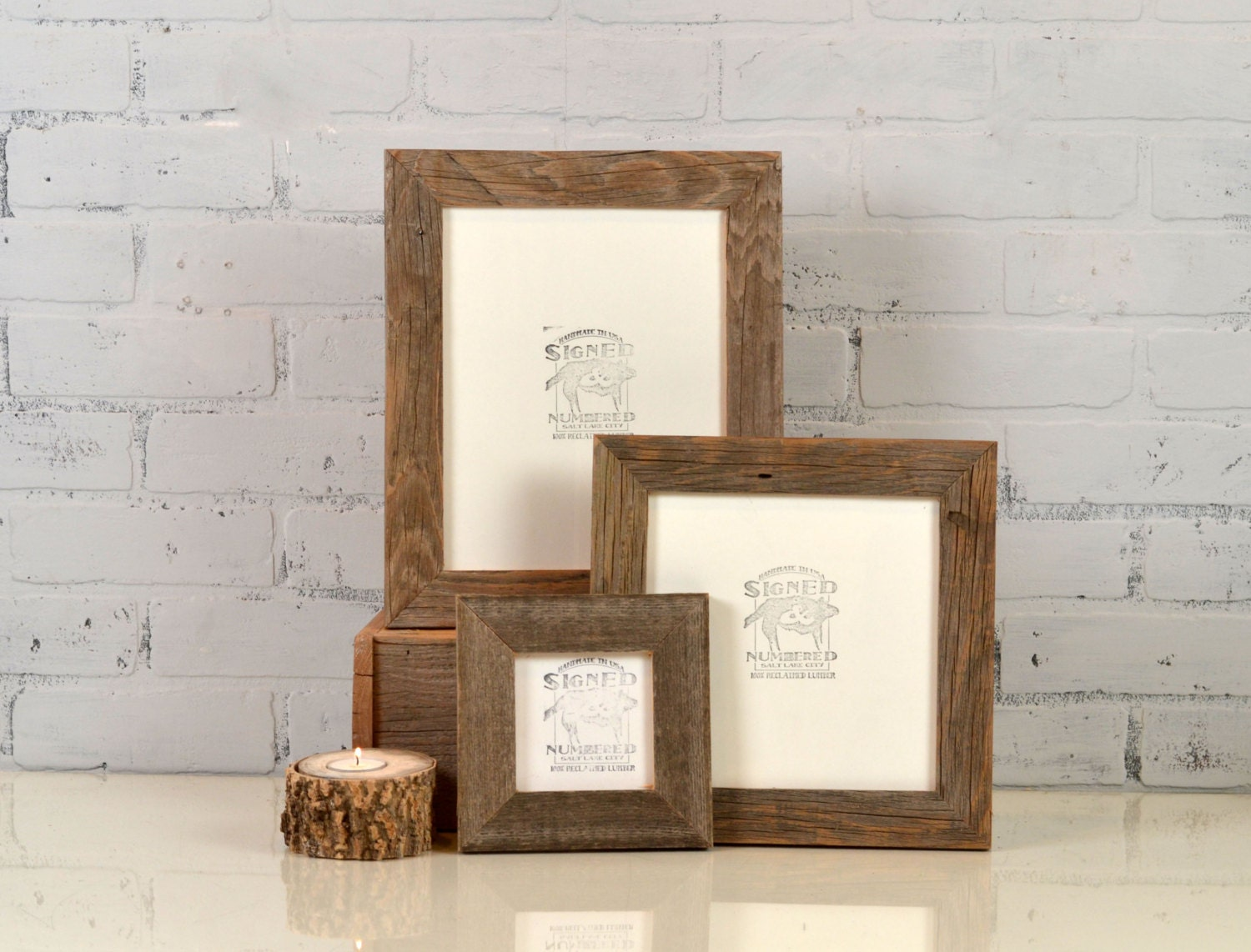 Rustic natural reclaimed cedar wood picture frame choose zoom jeuxipadfo Images