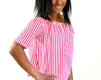 Pink and white striped shirt, off the shoulder top, handmade womens shirt, striped top, spring tops, summer tops, women's clothing
