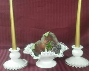 Fenton Milk Glass silver crest bowl and candle holders