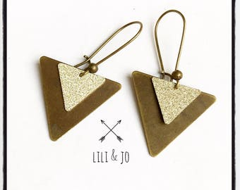 Glitter collection: large and small gold glitter triangle earrings